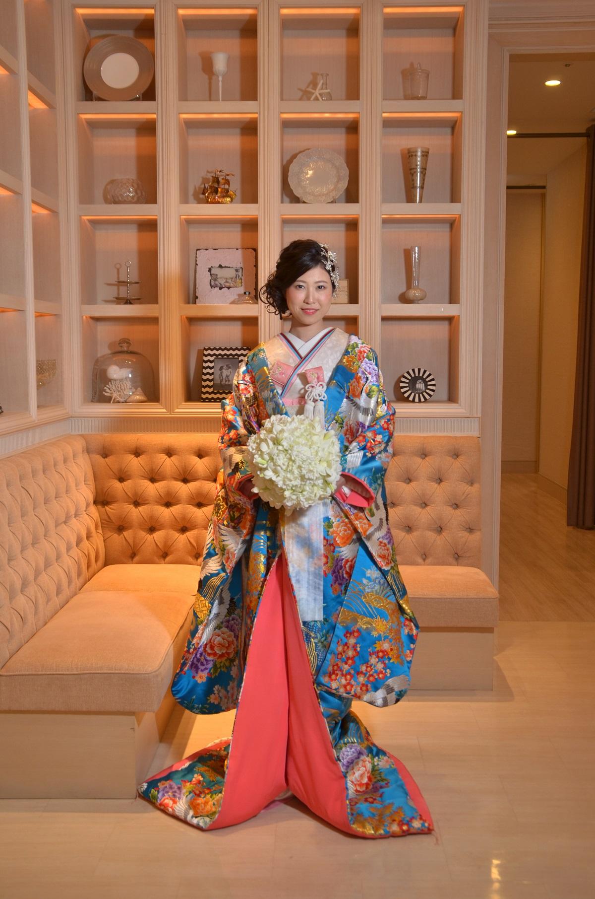 寿鶴彩花紋 浅葱色のフォトギャラリー